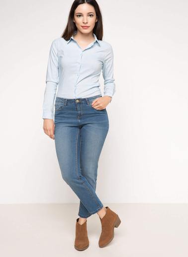 DeFacto Basic Gömlek Mavi